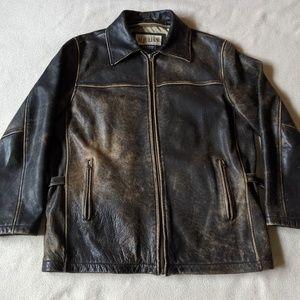 M Julian Distressed Leather Jacket Men's Large
